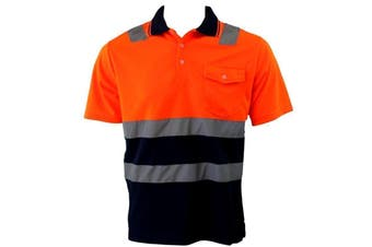 Hi-Vis Safety Workwear Short Sleeve Polo Shirt Top Reflective Tape Two tone - Orange