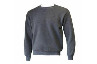 New Men's Adult Unisex Crew Neck Jumper Sweater Pullover Basic Blank Plain - Grey
