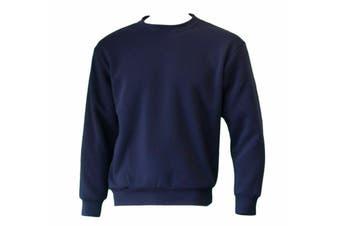 New Men's Adult Unisex Crew Neck Jumper Sweater Pullover Basic Blank Plain - Navy