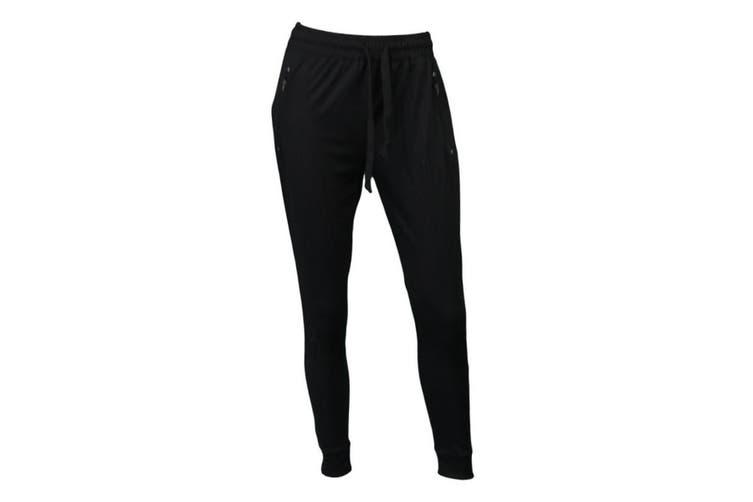 Women's Jogger Track Pants Slim Cuff w Zipped Pockets Ladies Trackies Basic - Black [Size: 8]