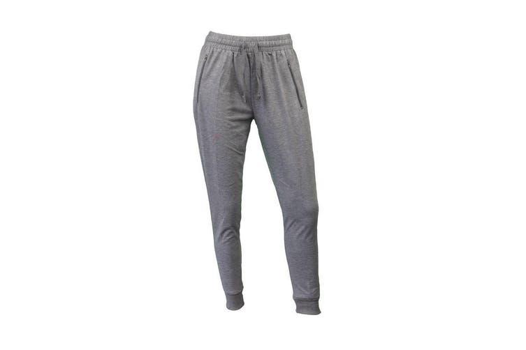 Women's Jogger Track Pants Slim Cuff w Zipped Pockets Ladies Trackies Basic - Light Grey [Size: 8]