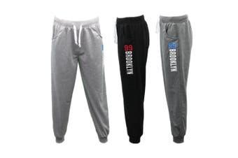 Men's Skinny Jogger Track Pants Cuff Trousers Trackies Sweat Pants - 99 BROOKLYN - Navy