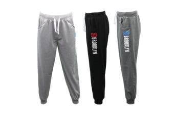 Men's Skinny Jogger Track Pants Cuff Trousers Trackies Sweat Pants - 99 BROOKLYN - Black