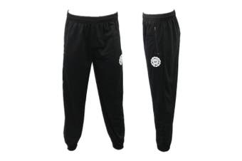 Men's Skinny Jogger Track Pants w Zip Pocket Cuff Trousers Trackies Sweat Pants -Black [Size:L]