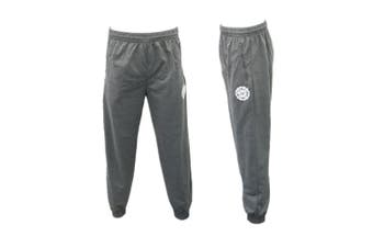 Men's Skinny Jogger Track Pants w Zip Pocket Cuff Trousers Trackies Sweat Pants -Dark Grey [Size:L]