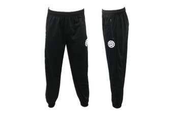 Men's Skinny Jogger Track Pants w Zip Pocket Cuff Trousers Trackies Sweat Pants -Black [Size:S]