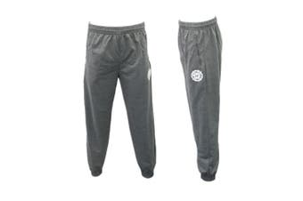 Men's Skinny Jogger Track Pants w Zip Pocket Cuff Trousers Trackies Sweat Pants -Dark Grey