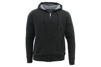 Men's Cotton Rich Hoodie Fur Lined Jacket Winter Warm Zip Up Thick Jumper - Black