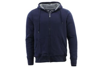 Men's Cotton Rich Hoodie Fur Lined Jacket Winter Warm Zip Up Thick Jumper - Navy