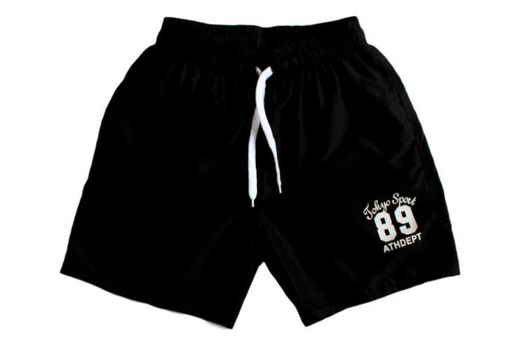 MEN'S CASUAL TRAINING RUNNING JOGGING GYM SPORT SHORTS TOKYO 89 -Black [Size:30]