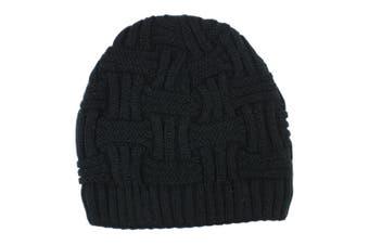 Mens Womens Unisex Beanie Winter Thermal Ski Warm Knitted Sherpa Plain Patterned [Design: H (sherpa) - Black]
