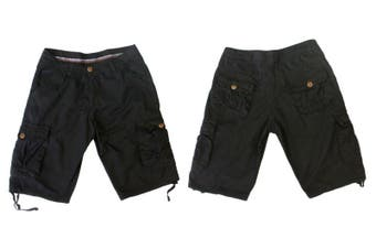 SUMMER MENS CASUAL MILITARY CARGO CAMO COMBAT SHORTS PANTS -Black