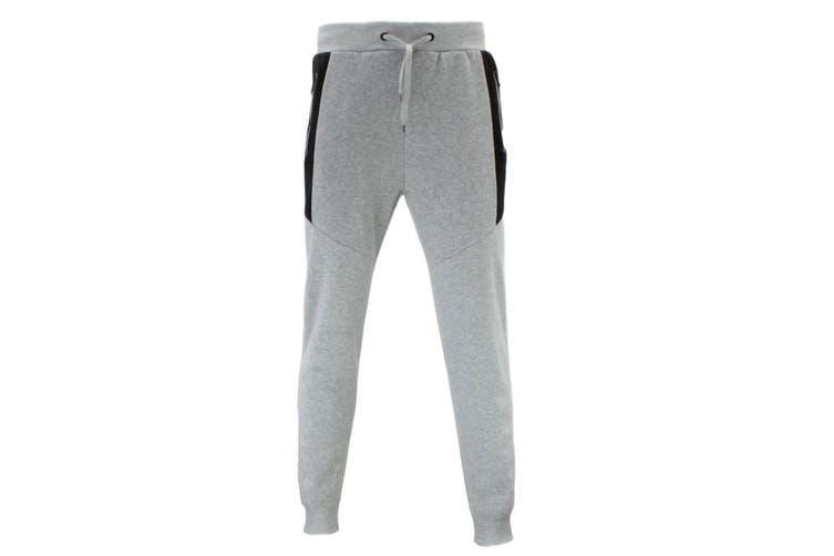 FIL Mens Unisex Fleece Jogger Track Pants Black Zipped Pockets Cuffed Trousers [Size: 2XL] [Colour: Light Grey]
