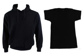 Adult Mens Unisex Plain Black Hoodie Jumper Pullover + Black T-Shirt