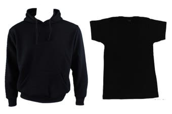 Adult Mens Unisex Plain Black Hoodie Jumper Pullover + Black T-Shirt
