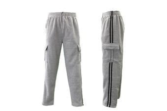 Men's Cargo Fleece Casual Jogging Sports Track Suit Pants w Stripes - Light Grey