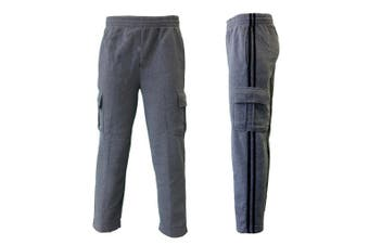 Men's Cargo Fleece Casual Jogging Sports Track Suit Pants w Stripes -Dark Grey