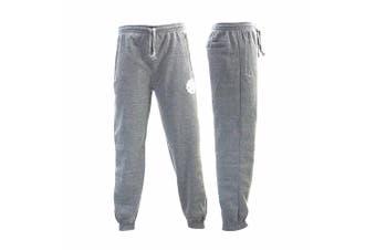 FIL Mens Skinny Jogger Fleeced Track Pants Zip Cuff Trackies NY [Size: 2XL] [Colour: Light Grey]