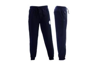 FIL Mens Skinny Jogger Fleeced Track Pants Zip Pockets Trousers Cuff Trackies NY - Navy