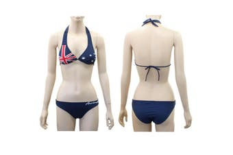 Women's Australia Beach Halter Bikini Swimwear Swimsuit Australian Flag Navy B - A