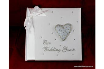 Wedding Guest Book with Cloth Cover and Embroidery - Heart [Type: Guest Book]