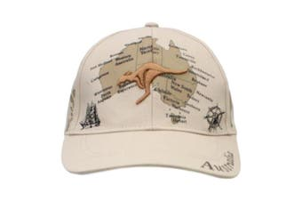 Mens Cap Unisex Hats Baseball Cotton Australia Day Australian Flag Souvenir [Design: Map w Kangaroo (Cotton)]