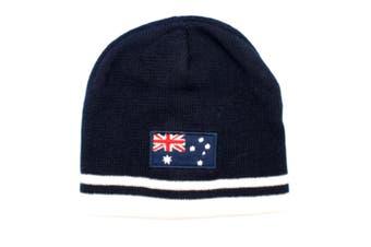 Australian Souvenir Beanie Ski Winter Warm Hat Australia Souvenir Kangaroo Flag [Design: Australian Flag - Navy]