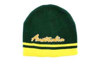 Australian Souvenir Beanie Ski Winter Warm Hat Australia Souvenir Kangaroo Flag [Design: Australia - Green]