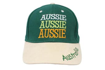 Adult Womens Mens Australia Day Australian Flag Souvenir Cotton Baseball Cap [Design:  Aussie Green (Cotton)]
