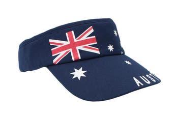 Mens Cap Unisex Hats Baseball Cotton Australia Day Australian Flag Souvenir [Design:  Flag Navy Sunvisor (Cotton)]