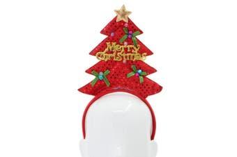Adult Kids Christmas Xmas Novelty Headband Hat Costume Hair Clip Reindeer Santa [Design: Christmas Tree C (Red)]
