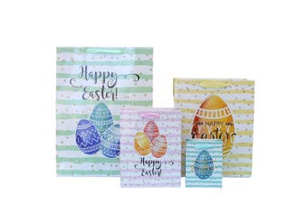 12pcs Easter Gift Bags Bunny Eggs Cardboard Paper Party Loot Favors - Design A