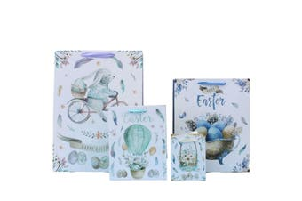 12pcs Easter Gift Bags Bunny Eggs Cardboard Paper Party Loot Favors - Design B