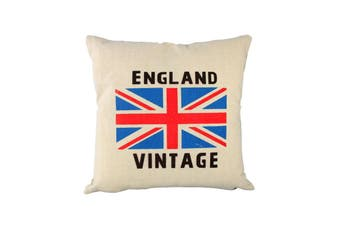 Vintage Cotton Linen Cushion Cover -England [Cushion Option: Cover with Filling Included]