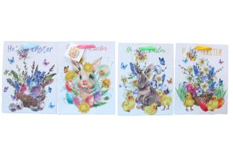 12pcs Easter Gift Bags Bunny Eggs Cardboard Paper Party Loot Favors - Design D