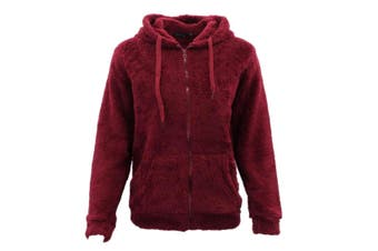 FIL Women's Teddy Fur Jacket Fleece Hoodie Zip Up Soft Winter Sherpa Fluffy Coat - Burgundy