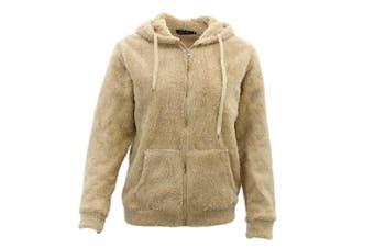 FIL Women's Teddy Fur Jacket Fleece Hoodie Zip Up Soft Winter Sherpa Fluffy Coat - Cream