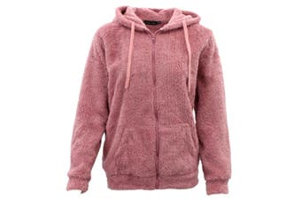 FIL Women's Teddy Fur Jacket Fleece Hoodie Zip Up Soft Winter Sherpa Fluffy Coat - Dusty Pink