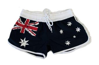 Womens Ladies Shorts Australian Australia Day Souvenir Beach Gym Shorts - Flag