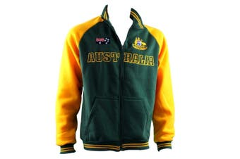 Adult Full Zip Up Baseball Jacket Jumper Australian Australia Day - Green