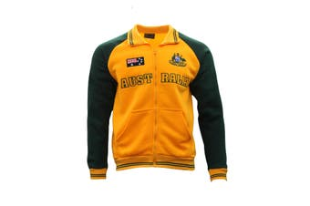 Adult Full Zip Up Baseball Jacket Jumper Australian Australia Day - Gold