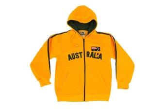 Kids Zip-up Hoodie Jacket Jumper Australian Australia Day Souvenir -Green & Gold