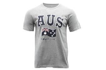 Adult T Shirt Australian Australia Day Souvenir Gift 100% Cotton - AUS Flag-Grey