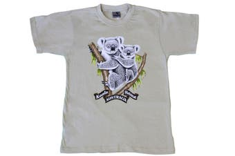 Adult T Shirt Australian Australia Day Souvenir Gift 100% Cotton - Koala Habitat -Cream