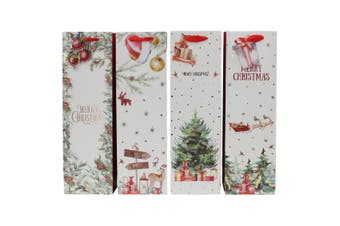 Set of 12 Christmas XMAS Wine Bottle Gift Bags Paper Carry Bags Gift Wrap Holder [Design: H]