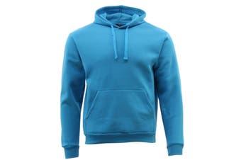 Adult Men's Unisex Basic Plain Hoodie Jumper Pullover Sweater Sweatshirt - Aqua