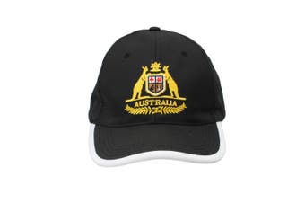 Adult Womens Mens Australia Day Australian Flag Souvenir Cotton Baseball Cap  [Design: Coat of Arms Black]