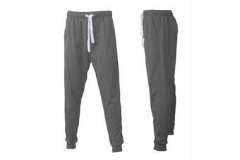 Men's Track Pants Slim Cuff Trousers Sport Tracksuit Casual Plain - Grey