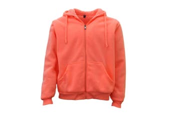 Winter Mens Womens Unisex Zip-Up Hoodie w Sherpa Fur Thick Hooded Jacket Jumper - Peach
