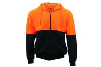 Hi-Vis Hooded Safety Workwear Fleece-lined Fleecy Full Zip Jumper Hoodie Jacket - Fluro Orange/Navy